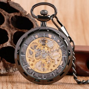 Luxury Skeleton Black Pocket Watch Trasparente Open Face Design Moda Vintage Windup Elegante pendente Steampunk Fob Chian
