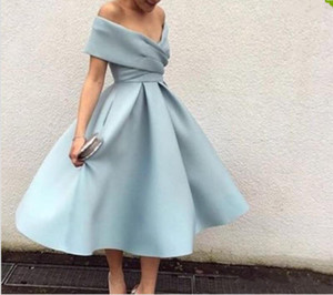 2019 New Arrival Light Blue Cocktail Dress Off The Shoulder Tea Length Short Party Prom Dresses High Quality Homecoming Dresses Formal Dress