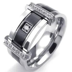 Мужские кубического циркония кольцо из нержавеющей стали Шарм элегантный обручальное кольцо черное серебро США размер 7 до 13 груза падения KKA1944