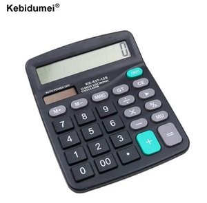 Bureau kebidumei Calculatrice solaire batterie outil commercial ou solaire 2 en 1 Powered 12 chiffres Calculatrice électronique avec Big Button