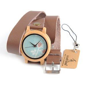 BOBO BIRD M22 M23 M24 Orologi da donna in legno Tre tipi Nuovo Top Brand Luxury Horloges Vrouwen con cinturino in pelle lungo come regalo di compleanno