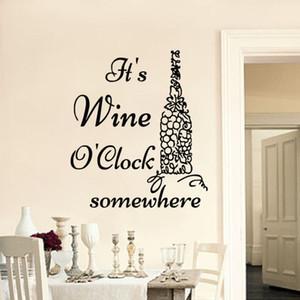 O'S Şarap I Saat Somewhere Duvar Çıkartmaları Tırnaklar Vinil Yapıştırıcı Sticker Üzüm Şarap Şişesi Mutfak Duvar Çıkartmaları Ev Dekor