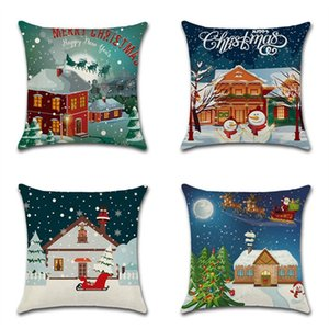 Sweet Snow House Throw Pillow Cover Funda de Almohada Decorativa de Navidad con Cremallera Sofá Coche Cintura Funda de Almohada Barato Decoración Del Hogar 18 Pulgadas
