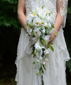искусственные свадебные цветы букет невесты свадебные украшения из искусственной лилии розы с водопадом цветок ротанга WQ32