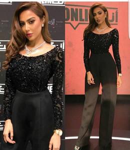 Yousef Aljasmi 2018 Siyah Tulumlar Gelinlik Modelleri Uzun Kollu Parlak Boncuk Abiye giyim Artı Boyutu Resmi Kadınlar Tulum
