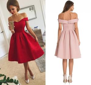 2019 einfache rote Satin kurze Ballkleider mit Rüschen aus Schulter knielangen kurze Partykleider nach Maß billige kurze Abendkleider