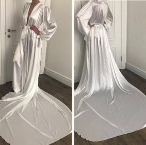 Nuovo Fsahion Notte Robe accappatoio pizzo Pigiama sposa di cerimonia nuziale della damigella d'onore degli abiti abito di preparazione per le donne Pajamas Sleepwear sweep treno