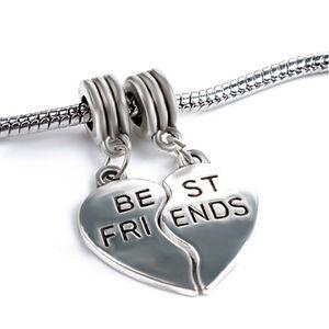 Los mejores amigos conjunto de 2 piezas de corazón cuelgan el colgante de la aleación del grano del encanto de la joyería de las mujeres Estilo europeo imponente para la pulsera de Pandora