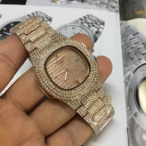Модные женские розовые часы с бриллиантами и женскими часами Дизайнерский квадратный Хрустальный циферблат Часы из розового золота с браслетом из нержавеющей стали
