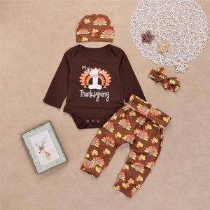 Nouveau-né 2017 bébé vêtements de Noël costumes mon premier Thanksgiving Harvest Romper Trukey fleurs pantalons Hat bandeau 4pcs Occasions décontractées