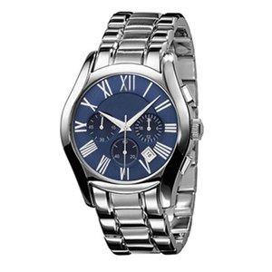 Новые Top Luxury Watches Men AR0673 AR1635 Часы Кварц Календарь Военные часы из нержавеющей стали WristWatch Спорт Синий Черный