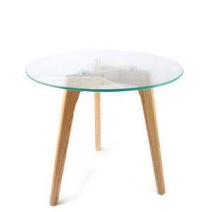 Tavolino da salotto Tavolino rotondo in vetro temperato con gambe in rovere rosso