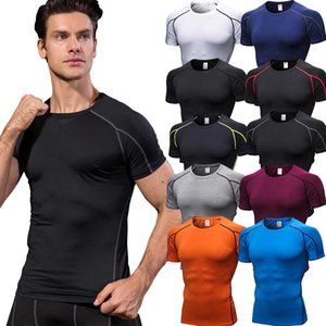 T-Shirt Sportswear Jerseys For Compression Tights Fitness Quick-drying Gym Shirt Basketball Men Short Sleeve Men Soccer Bodybuilding Vpmqd