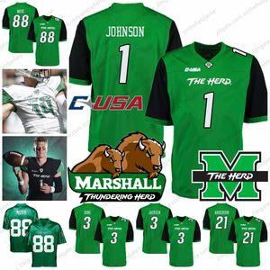 Maglia da football Marshall Thundering Herd College 1 Willie Johnson 3 Chris Jackson 3 Tyler King 21 Anthony Anderson 88 Randy Moss S-4XL