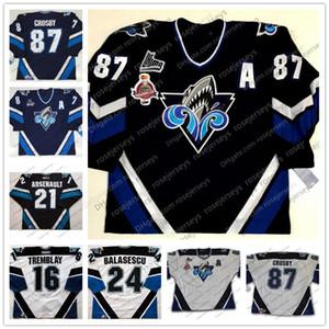Costumbre Rimouski Oceanic # 87 Sidney Crosby 2005 Memorial Cup de hockey de la vendimia cosido Cualquier Número Nombre de la Marina Azul retro blanco jerseys S-4XL