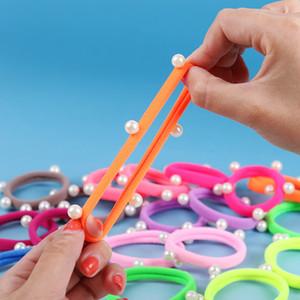 30 шт. / лот конфеты флуоресценции цветные держатели волос высокое качество Перл резинки резинки для волос аксессуары девушки женщины галстук резинки