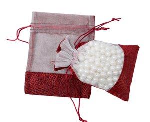50 pz / lotto 11 * 16 cm PVC trasparente finestra coulisse sacchetto perline gioielli sacchetto rosso iuta regalo borse per la cerimonia nuziale