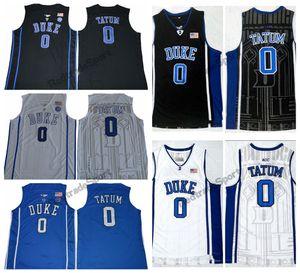 Mens Duke Blue Devils Jayson Tatum #0 College Basketball Jerseys Black Blue White Elite Stitched Shirts S-XXL