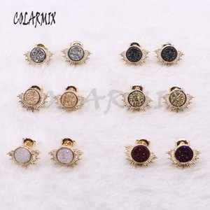 Wholesale High quality druzy stone stud earrings simple style geode stone druzy earrings Natural stone earrings 3913