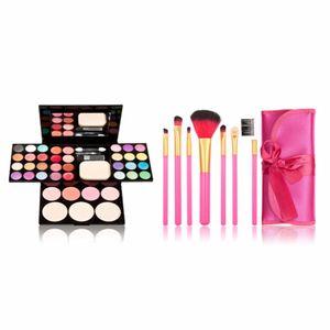 Professional Makeup Set Eyeshadow Pallet Makeup Palette Kit Powder Blusher Cosmetic Lipstick Tools 7 Make Up Brushes Gift Wife