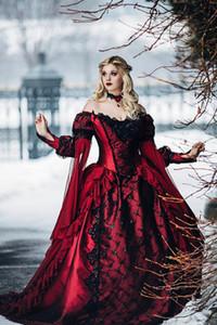 Gothique princesse médiévale balle robe de mariée robe à manches longues en dentelle appliques victorienne robes de mariée princesse plus la taille robes de mariée