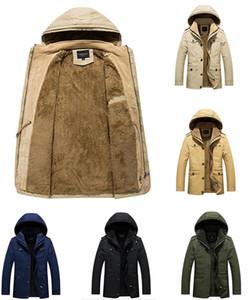 Men designer winter jacket casual jacket windproof jacket men casual plus velvet thickening hooded cotton men casual jacke