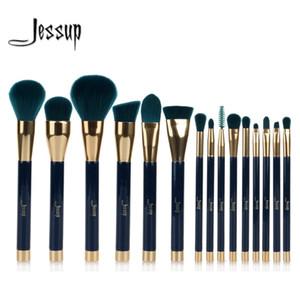 Jessup 15pcs Pinceles de maquillaje Set Powder Foundation Sombra de ojos Eyeliner Lip Contour Concealer Smudge Brush Tool Blue / Darkgreen