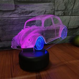 비틀 자동차 비주얼 밤 빛 크리스마스 이중 색상 아름다운 아이 조명 램프 키즈 룸의 USB 주도 도매 Dropshipping를을 장식으로 이루어져 3D
