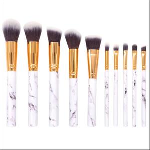 Spazzole in marmo 10Pcs / Set Pennelli per trucco professionale Marbling Handle Ombretto Sopracciglio Labbro Make Up Brush Strumento Comestic