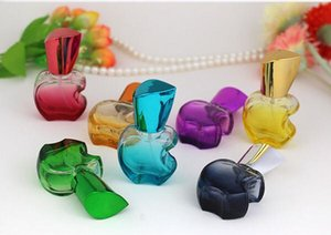 Forma 100pcs 15ml de Apple coloridas garrafas de perfume de vidro Viagem Amostra Cosmetic spray de vidro de embalagem das garrafas de perfume