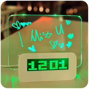 المنبه الصمام الفلورسنت رسالة المجلس المنبه الرقمية التقويم ليلة ضوء أخضر / أزرق / أحمر ديكور مكتب المنزل على مدار الساعة