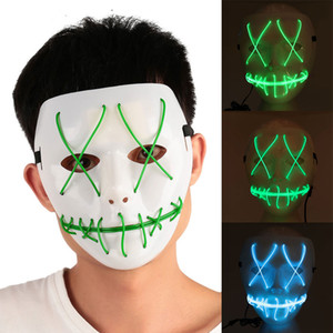 Cool LED Luminous Glowing Masquerade Mask Halloween Party Decoration Funny Cosplay Costume Horrible Masks for Festival Parties