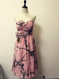 Damas de Honra Curtas 2018 Pink Chiffon CAMO Bridesmai Vestido Real Imagem