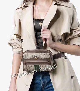 Ranbay8 2018 Nouveau Designer Ophidia Ceinture Sac 517076 Brun Ceinture Taille En Cuir De Vachette Sacs Zip Pochette Femmes Flap Sacs À Main