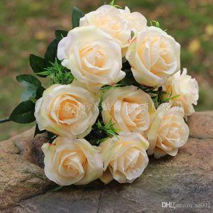 Artificial ramo de flores de seda de la tela Fotografía Prop romántico 11 cabeza falsas rosas para decoraciones de banquetes de boda muchos colores 8 7cy ZZ