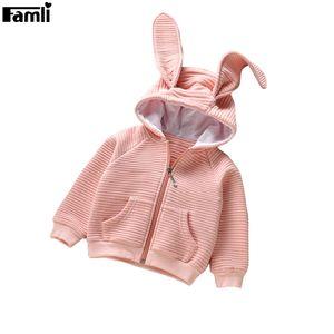 Famli Bebek Kız Kapşonlu Ceket Kaban Çocuk Bahar Sonbahar Rahat Katı Bunny Kulaklar Ceket Çocuklar Tam Kollu Pamuk Giyim