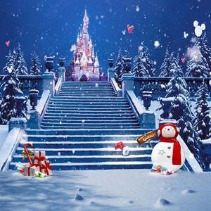 Blu notte cielo fiocchi di neve felice neve sfondo stampato scale palloncini Castello pupazzo di neve bambini festa di Natale Photo Booth sfondo