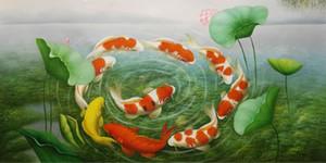 هاندبينتيد HD الفن طباعة الحديثة الحيوان النفط الطلاء الفن الواقعي تسعة الأسماك وللمنزل الجدار الديكور على قماش ذات جودة عالية مقاسات متعددة