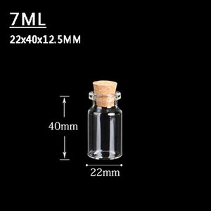 7ML 22X40X12. 5mm mini Clear glass Jars with Cork Stoppers / Message Parists Wish Jeweler Party Favour