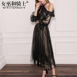 Frühling Sommer 2018 neue Damenmode, Mode schwarzen Spitzenkleid, mittlere Länge Lotus Leaf Edge großen Rock, Hang Neck Sexy Dress