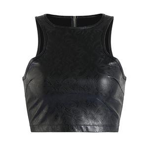 2018 Mulheres Curto Top Colheita Bustier Plus Size S-XXL Clubwear Fetiche Zip Voltar PVC Tops de couro Olhar molhado Pu Tubo Top Sem Mangas