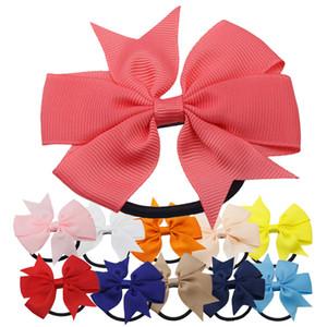 3 Pulgadas Sólido Boutique Grosgrain Ribbon Girl Bow Elastic Hair Tie Cuerda Hair Band Arcos DIY Accesorios Regalo para
