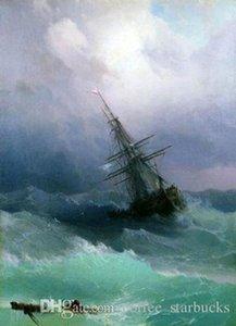 Ivan Aivazovsky - Tempest Seascape Waves Schiff, perfekte handgemalte Seascape Art Ölgemälde auf Leinwand Multi Größen Sc09