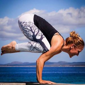 Mulheres correndo yoga calças de fitness europa américa moda impresso cintura alta apertado de seda legging meninas primavera outono quente bootcut stretchy pant