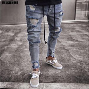 Slim Fit Ripped Jeans Men Hi Rua hip hop Mens calças Denim Joggers Buracos calças no joelho Lavado destruído Jeans