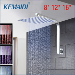 "KEMAIDI 8"" 12"" 16"" Rainfall Shower Head System Bath & Shower Faucet With Arm&Hand Spray Bathroom Rain Mixer Set"