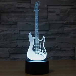 창조적 인 3D는 빛을 전기 기타 모델의 환상 램프 LED 7 색 USB 터치 센서 데스크 라이트 나이트 라이트를 변경 3D