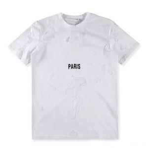 Design de marca SS18 Verão Street wear Europa Paris Fan Made Moda Homens Alta Qualidade Buraco Quebrado Tshirt de Algodão Mulheres Casuais Tee giv T-shirt