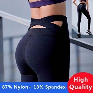 Kadınlar için yüksek Kalite Siyah Kayış Geniş Waisted Yoga Pantolon Spor Koşu Tayt Mor Spor Push Up Çapraz Geri Yoga Tayt