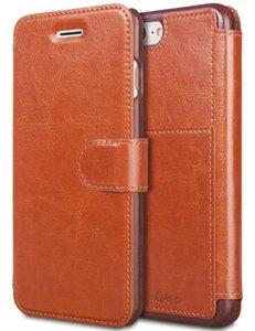 Pour iPhone 6 8 7 Plus Étui portefeuille en cuir avec cartes Slot Métal Magnétique Slim Fit Heavy Duty PU Flip Case Marron